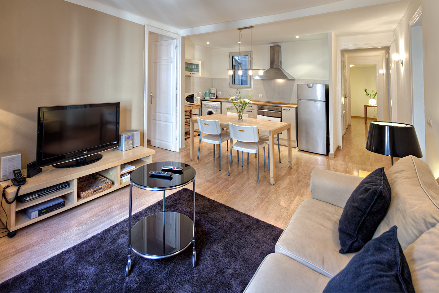 Art2 apartment barcelona Living room kitchen 1 Amazing Apartments next to Las Ramblas   the Heart of Barcelona