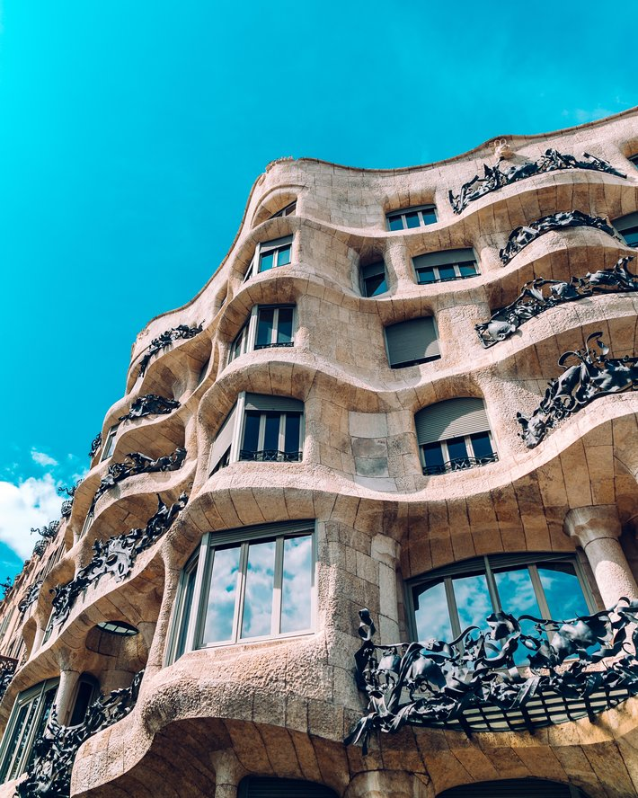Blue skies over La Pedrera in Barcelona What to do in Barcelona in January?