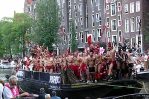 Devil's boat- Gay Pride Parade. Amsterdam Canals