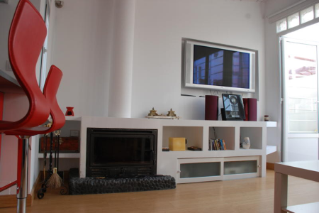 Chueca-terrace-apartment-madrid. Fireplace