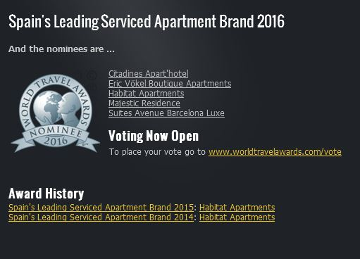 nominados world travel awards World Travel Awards – Spain´s Leading Serviced Apartment Brand 2016