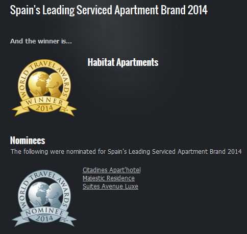 premio wta World Travel Awards Winner 2014: Habitat Apartments