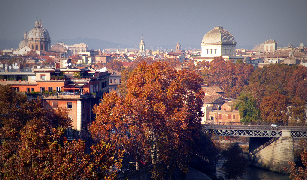 rome in fall city view